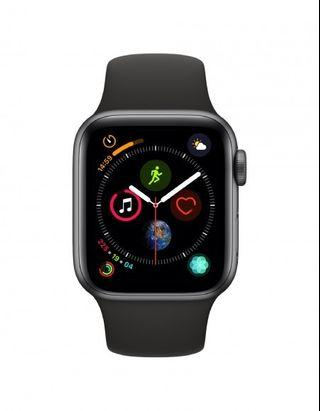40mm Apple Watch Series 4 Space Gray Aluminum Case with Black Sport Band