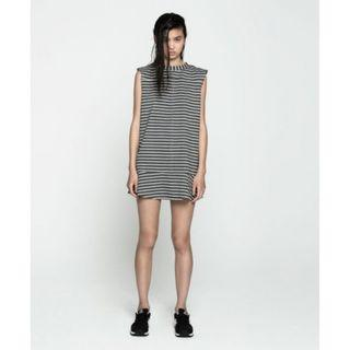 The Fifth I Always Knew Dress in Grey Marle & White Stripe