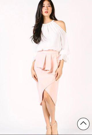 Front Pleat Detail Skirt (Blush)