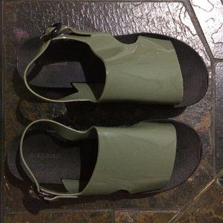 Baru! Green army sandal jelly hijau sendal wedges