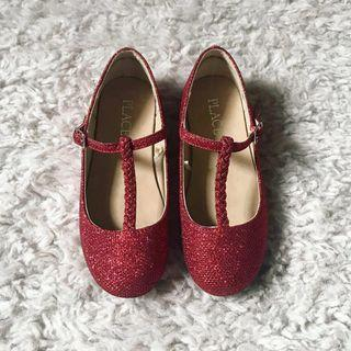 CHILDREN'S PLACE RED GLITTER T STRAP GIRLS SHOES