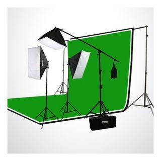 2700w 3-Point Photo Video Continuous Softbox Lighting Kit + 3pc Backgrounds
