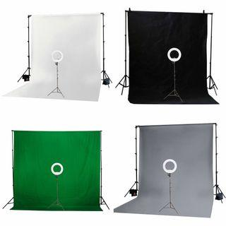"13"" LED Diva Ring Light Kit + Photo Video Background Kit (Various Coloured Backgrounds To Choose From)"