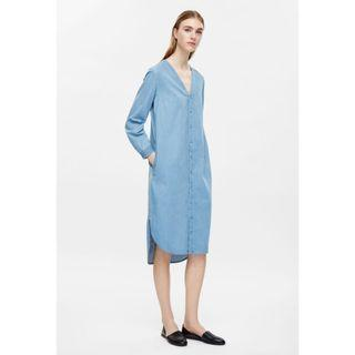 COS V Neck Long Sleeve Shirt Dress in Denim