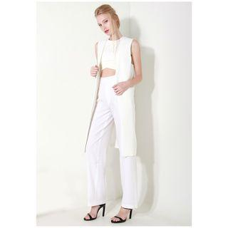 Hyphen The Label Bathany Structured Longline Waist Coat in White