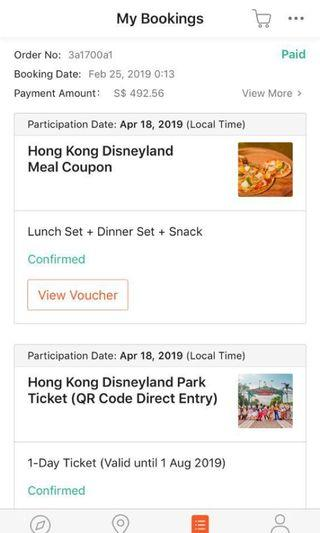 1 pair of disneyland tickets and free meal sets for sale!