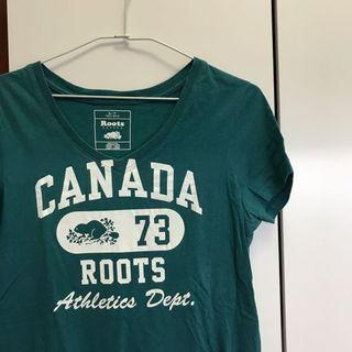 Roots短袖T恤 短袖上衣 綠色上衣