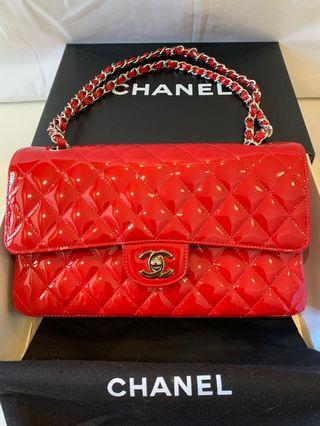 Chanel classic red quilted patent double flap