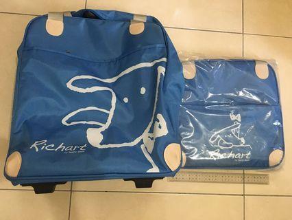 全新 RICHART沁藍三用子母拉桿箱 旅行袋 刷卡贈品