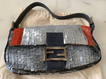 Fendi sequin baguette with lizard skin front flap and handle