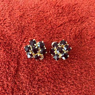 Vintage 1960s Red Ruby Crystal Earrings Clip-On