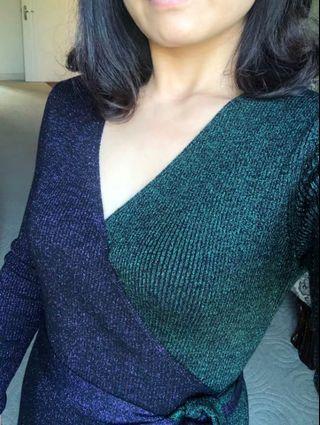 Multi color shimmer effect wrap dress UK size10