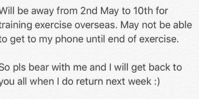 I'm away overseas.
