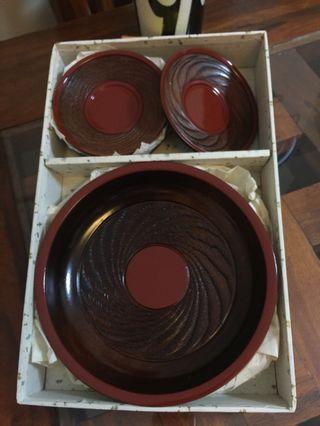 Wooden Bowl and Saucer Ser