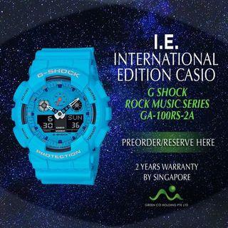 CASIO INTERNATIONAL EDITION G SHOCK BIG CASE BLUE GA-100RS-2A ROCK MUSIC SERIES