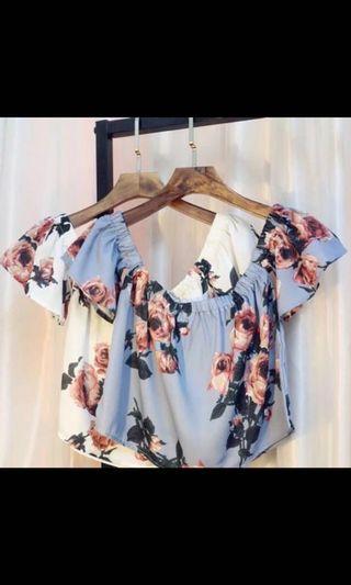 🚚 Floral Off Shoulder Top (blue)