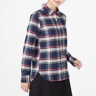 無印良品 muji 女有機棉法蘭絨格紋襯衫 深藍L