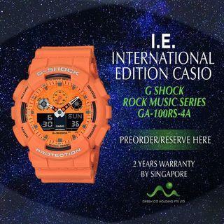 CASIO INTERNATIONAL EDITION G SHOCK BIG CASE GA-100RS-4A ROCK MUSIC SERIES ORANGE