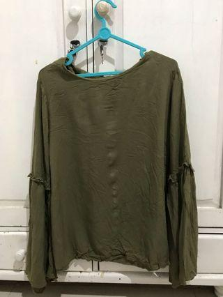Et cetera army green blouse