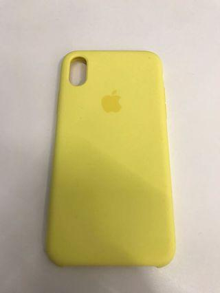100% Apple Orignial iPhone Xs Silicone Case Yellow