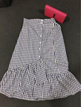 Women Irregular Plaid Casual Skirt (Blue)