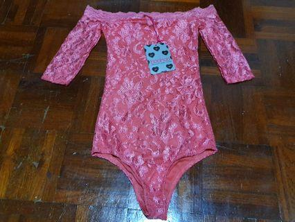 [FREE DELIVERY]: Brand new pink lace bodysuit