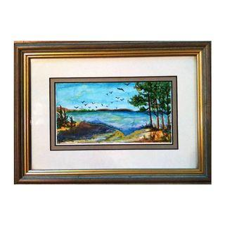 Blue Lake Painting with Frame