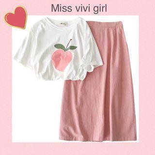 🚚 2件母親節限時特價 Miss vivi girl- 2件 粉桃丅恤+長裙 /Free size/發訊訂貨