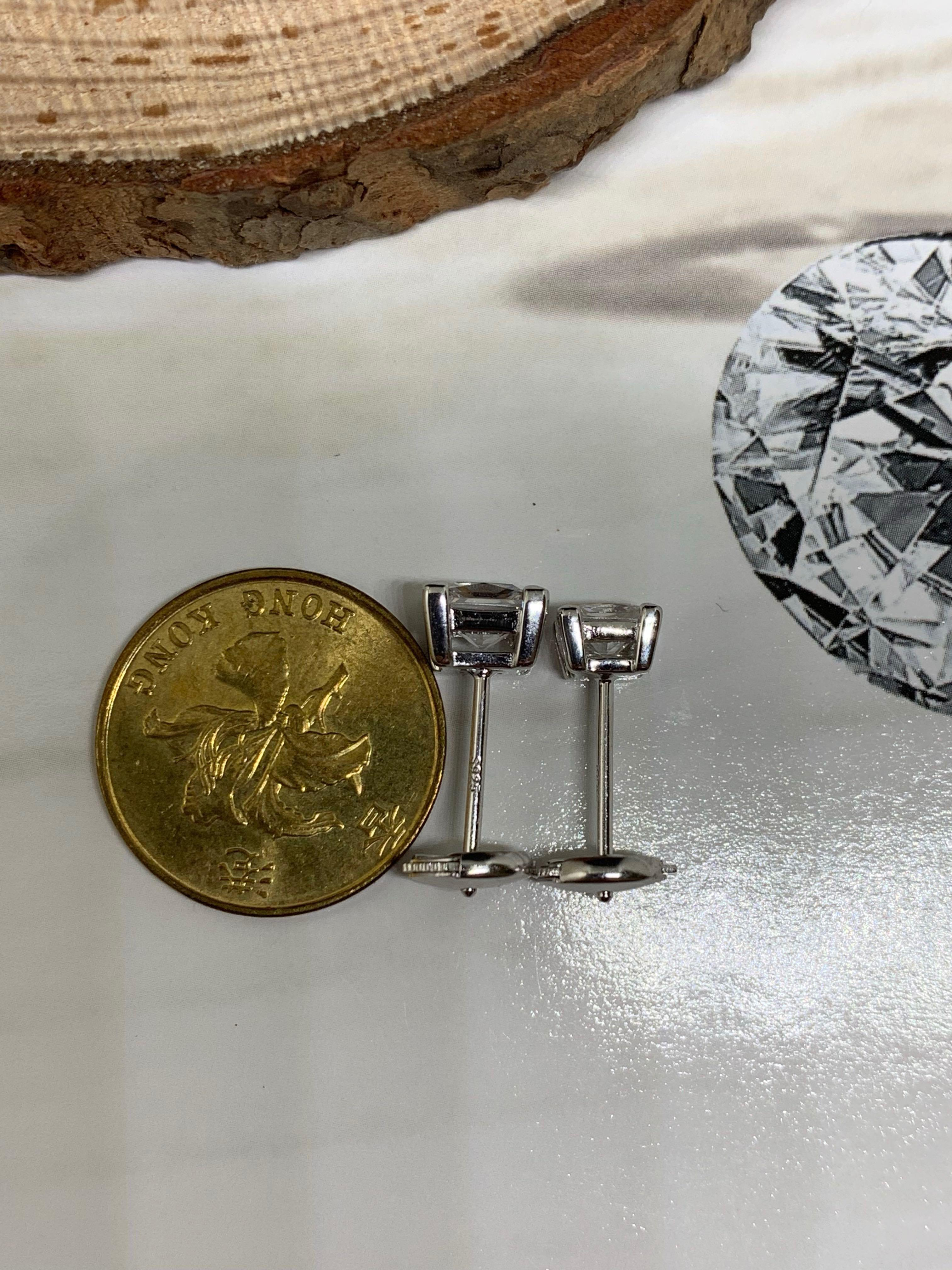 4mm Princess Cut CZ Stud Earrings in Silver 925