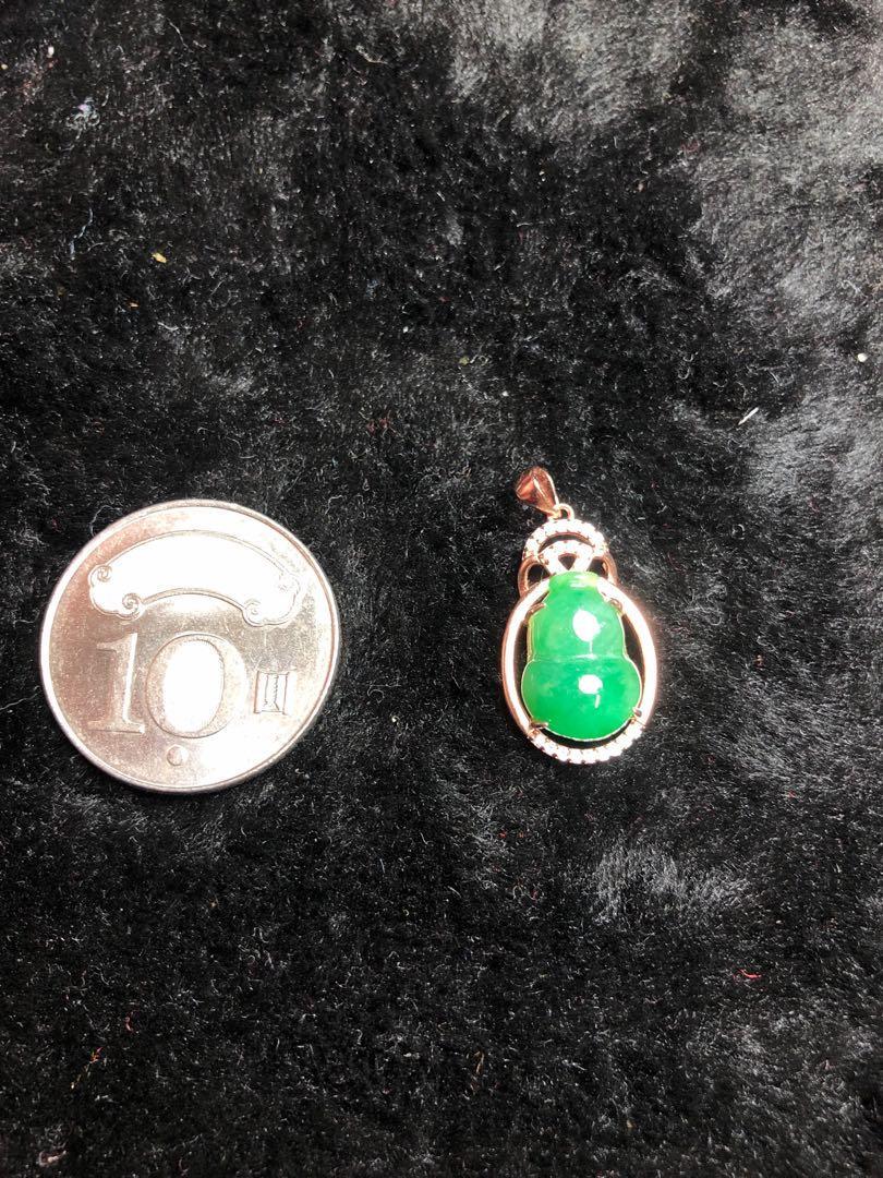 天然翡翠冰綠葫蘆鑲925純銀吊墜