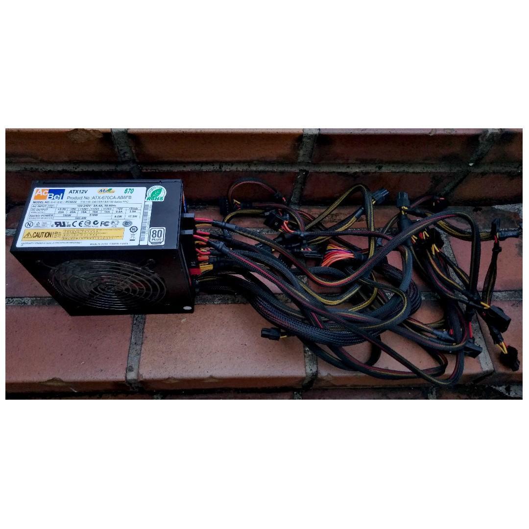 AcBel M8 Power 670W 模組電源供應器(火牛) 80PLUS