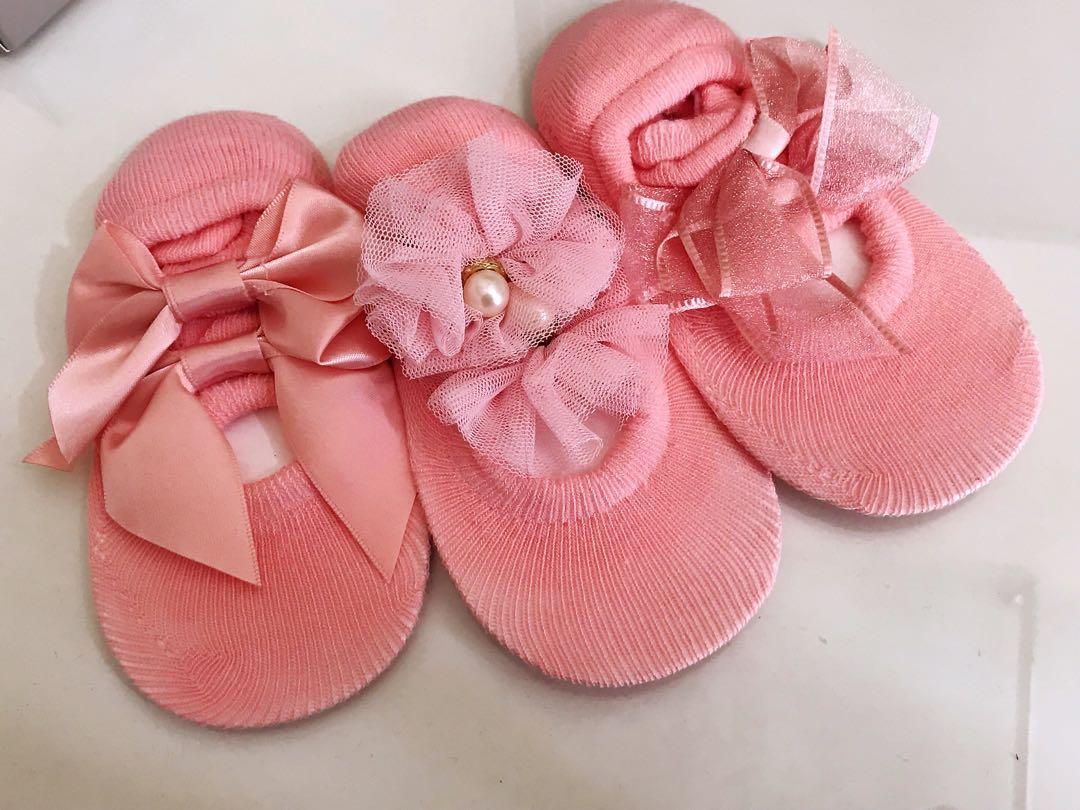 初生BB襪粉紅色,一套3對。👼🏻👼🏻(1-3歲)