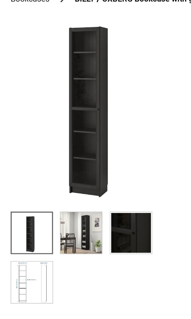 BILLY / OXBERGBookcase with glass-door, black-brown, glass,