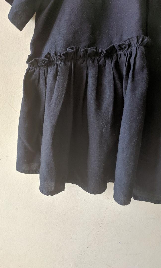 Black Ruffle Blouse Mademoiselle Top