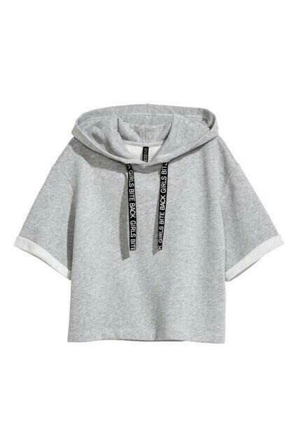 Black short hooded top h&m