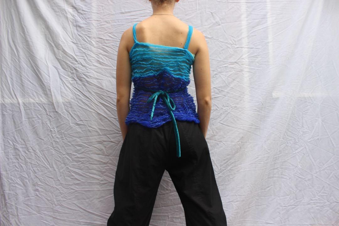Blue Y2K ruffle cami