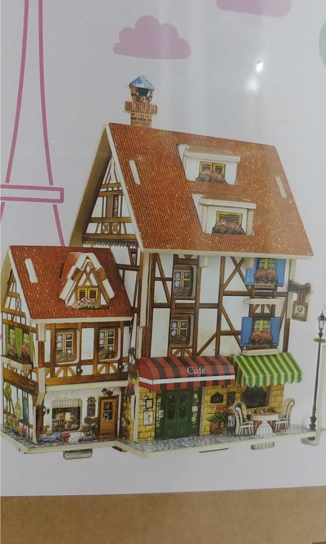 bnib french parisian cafe wooden 3d puzzle rolife robotime