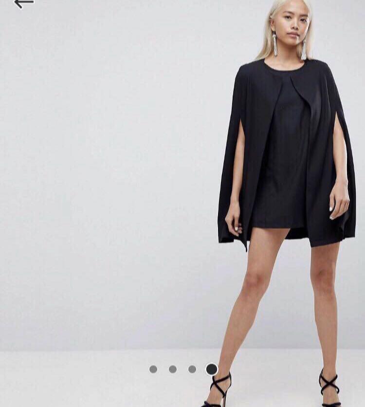 c20784f2b7 BNWT Asos Black Cape dress 2pcs, Women's Fashion, Clothes, Dresses ...
