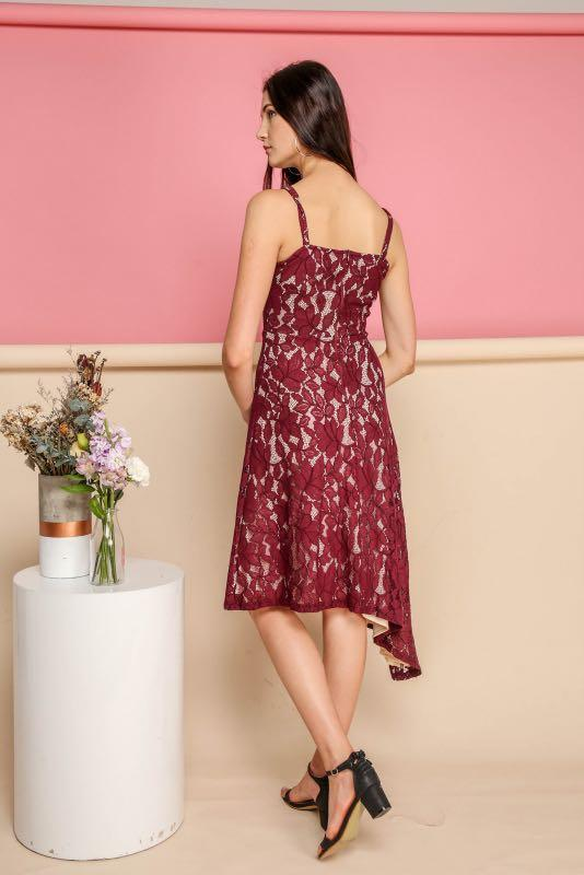 BNWT TSW The Stage Walk Annalise Lace Midi Dress Wine Red size S