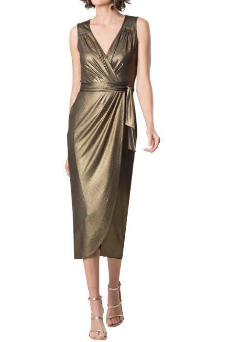 "BRAND NEW Leona Edmiston Gold Lurex Midi Dress ""Bailey"" Size 10 TAGS ON"