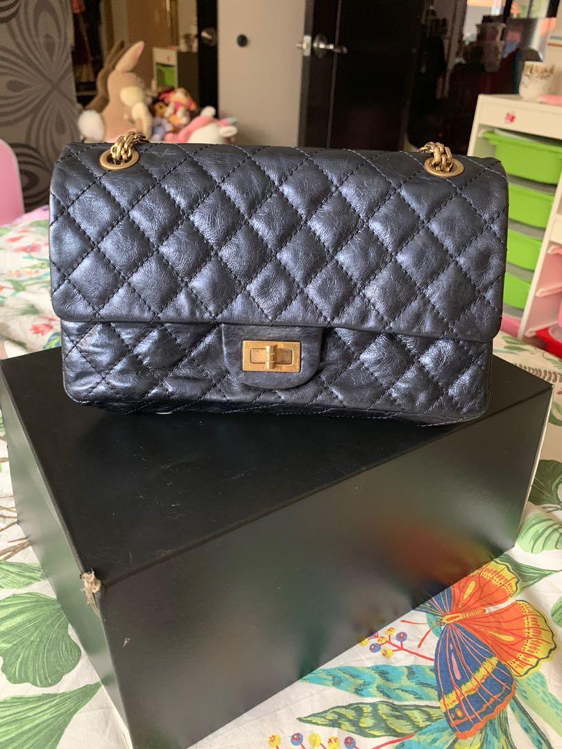 6dfd9e620e7e6a Chanel 2.55 reissue blue metallic double pocket flap bag, Luxury, Bags &  Wallets, Handbags on Carousell
