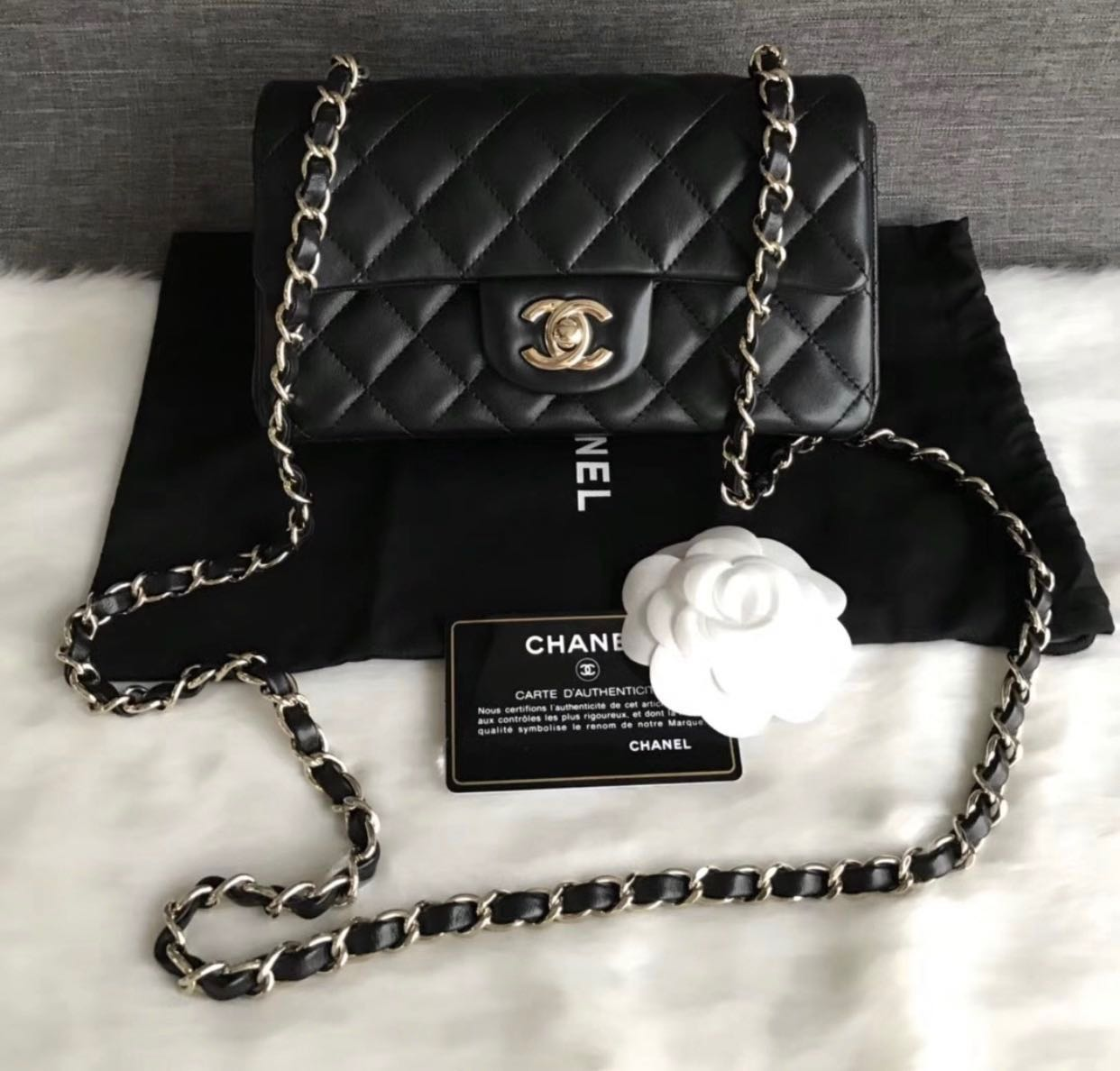 18ab9abb9a33 Chanel mini rectangle 18B Black Lambskin Champagne GHW, Luxury, Bags ...