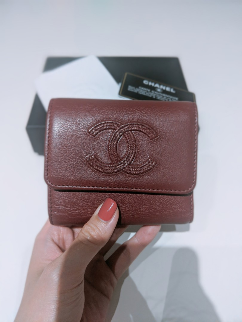 f4e66bf254e7be Chanel Timeless CC Fold Leather Wallet in Burgundy, Luxury, Bags ...