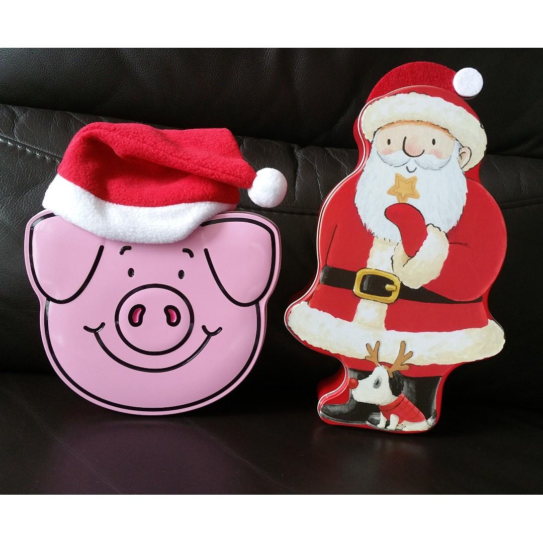 Christmas Tins.Christmas Tins Percy Pig Santa