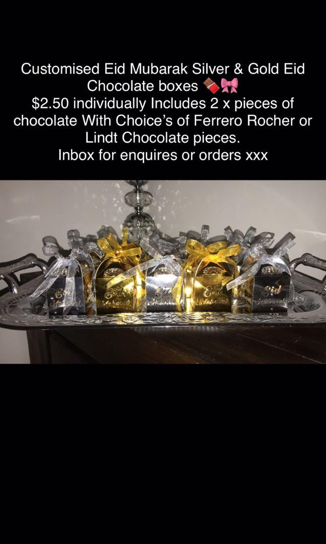 Custom eid Mubarak silver and gold boxes contain 2x Ferrero Rocher pm for more info