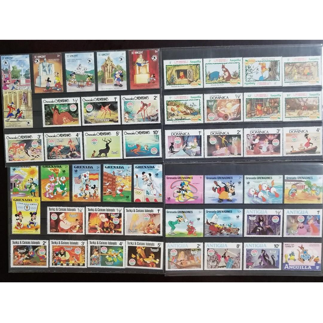 Disney Stamps  - St. Vincent, Grenada, Turks & Caicos, Anguilla, Dominica, Antigua
