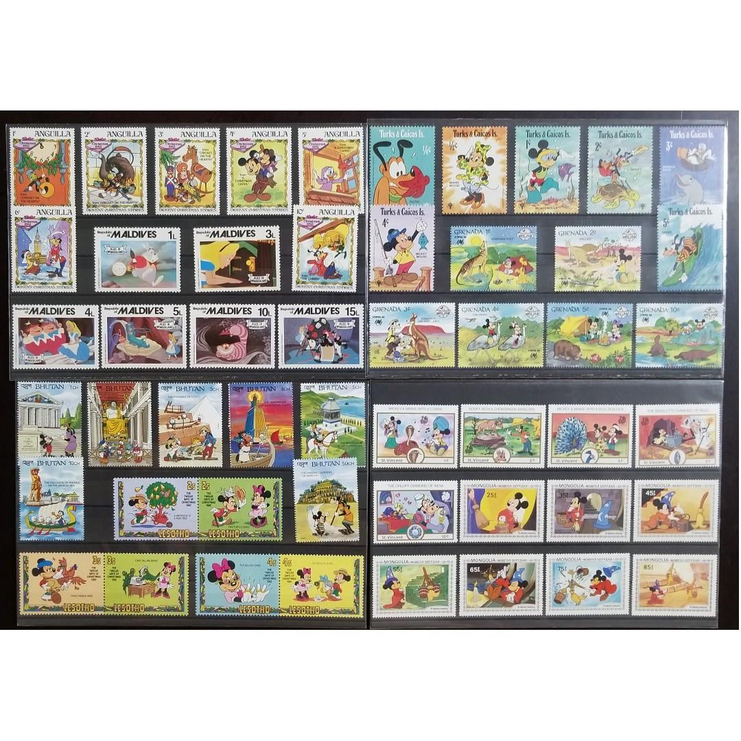 Disney Stamps - St. Vincent, Mongolia, Bhutan, Lesotho, Turks & Caicos Islands, Grenada, Anguilla, Maldives