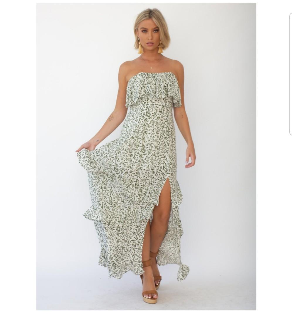 Gingham and Heels Bexley Strapless Maxi Dress - White & Green Vine