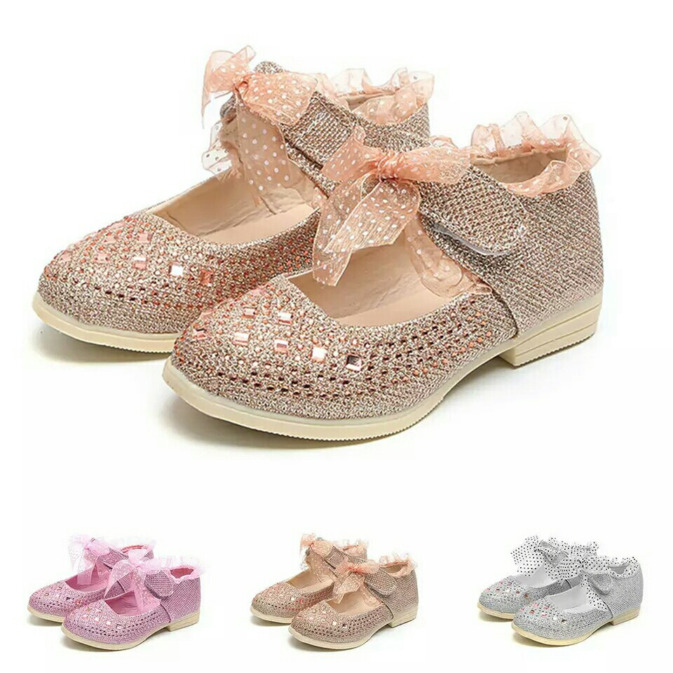 Girls Leather Shoes Gliter Bows Toddler