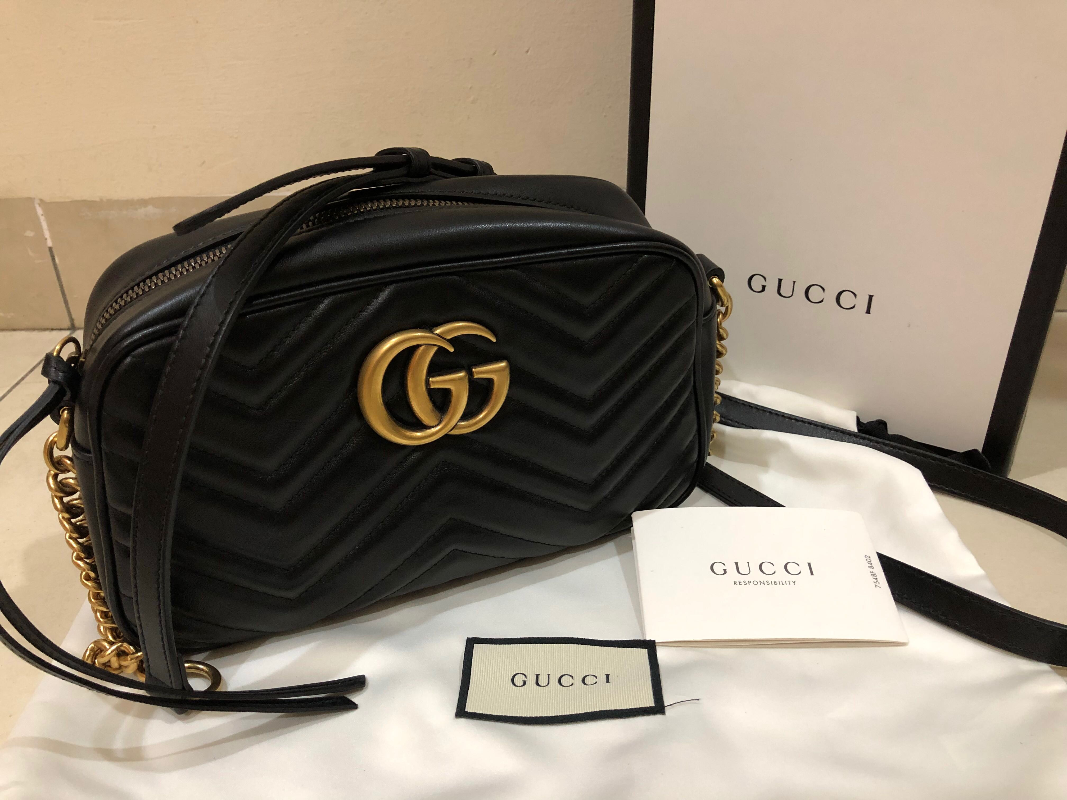 3ec4827e9872 Gucci GG Marmont Camera Bag(Matelasse Small Black), Women's Fashion, Bags &  Wallets, Others on Carousell